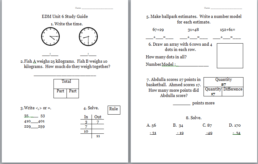 math worksheet : worksheets for everyday math grade 2 unit 11  worksheets for  : Everyday Math Worksheets
